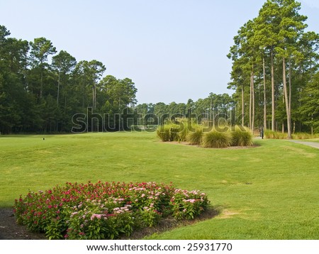 beautiful view of the first hole on this Myrtle Beach golf course. - stock photo