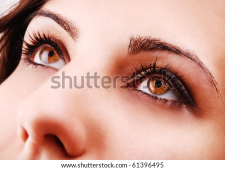 Beautiful woman eyes close-up - stock photo