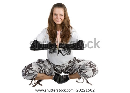 beautiful woman meditating isolated