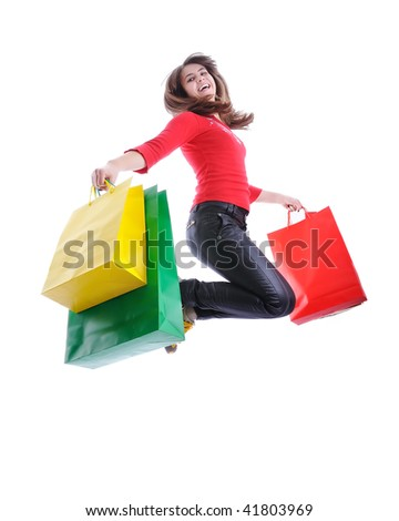 Beautiful woman shopping bags in her hands - stock photo