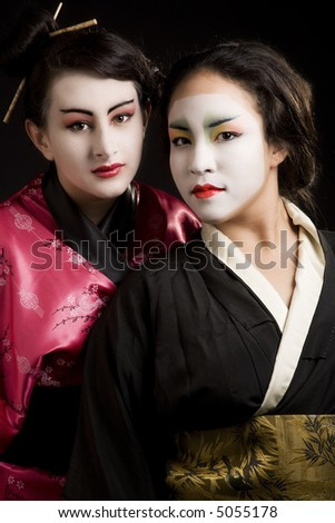 2 beautiful young geisha woman