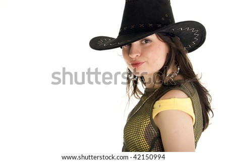 Beautiful young modern cowgirl portrait cute isolated on white background