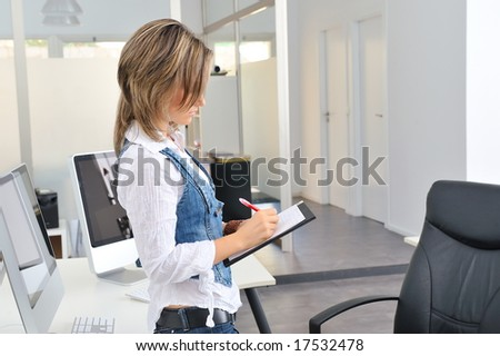 beautiful young woman at the office