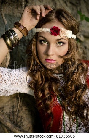 beautiful young woman hippie - stock photo