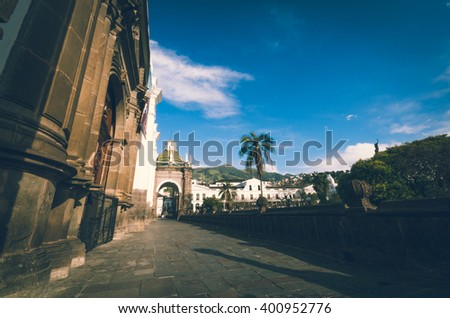 Beautifull view from the center of the place to the presidential palace in quito - stock photo
