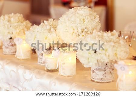 Beautifully decorated wedding venue - stock photo