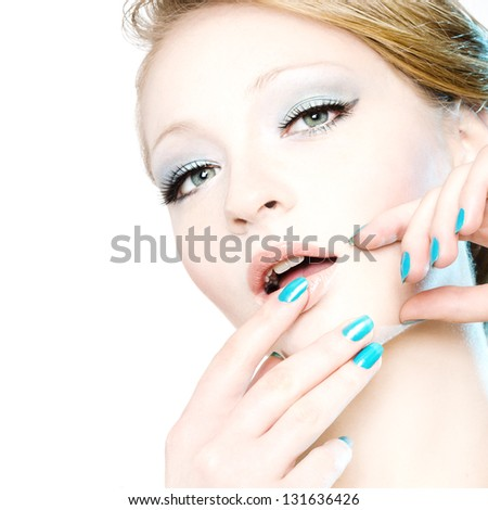 Beauty portrait of young girl on white background