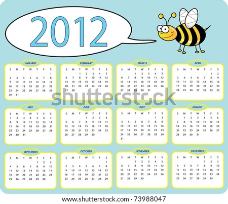2012 Bee calender isolated on white - stock photo