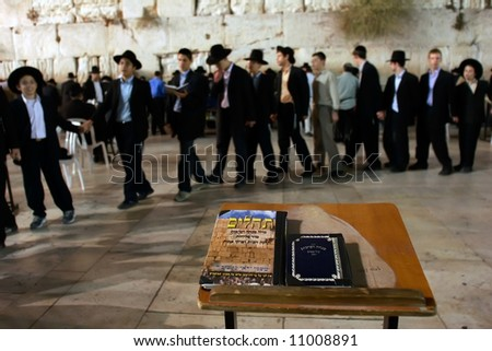 Before holiday Pesach night at the Western Wall in Jerusalem. - stock photo