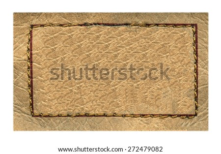 beige  leather label on white background, frame,  - stock photo
