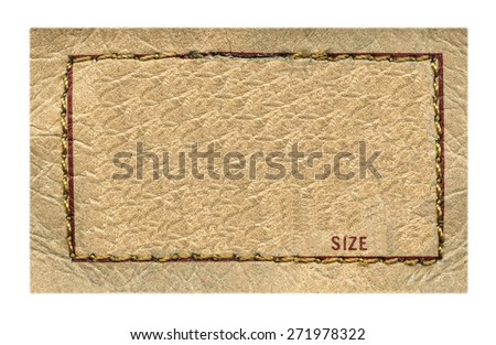 beige  leather label on white background, frame, size - stock photo
