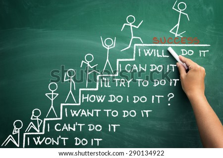 believe in yourself, all the stages of human condition to success - stock photo