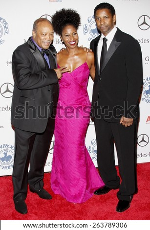 25/10/2008 - Beverly Hills - Quincy Jones and Denzel Washington at the 30th Anniversary Carousel Of Hope Ball held at the Beverly Hilton Hotel in Beverly Hills, California, United States.  - stock photo
