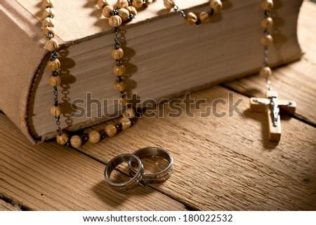 bible and prayer beads - stock photo