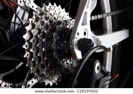Bicycle gears and rear derailleur - stock photo