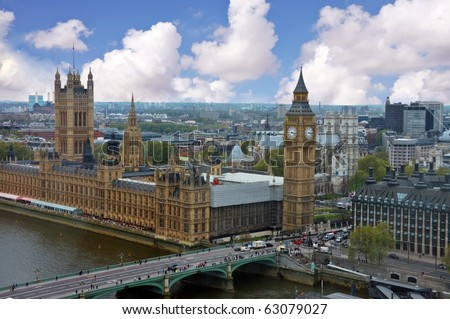 Big Ben and the parliament in London - stock photo