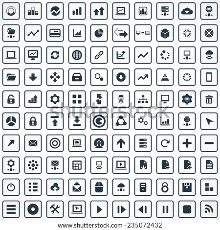 100 big data, database icons set, black, isolated on white background