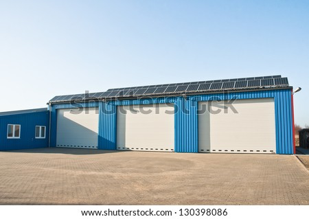 big garage with solar roof
