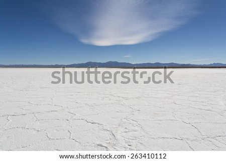 'Big Salinas' is the name of a neighboring flat desert of salt in the Argentine provinces of Salta and Jujuy, located in the 'Puna of Atacama', in the Argentine Northwest. - stock photo