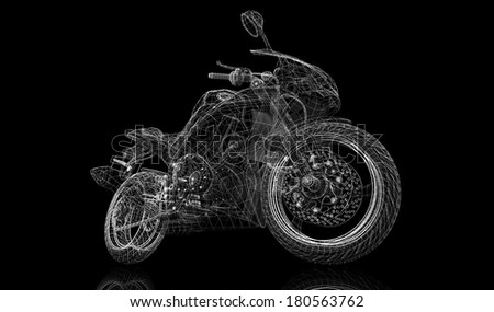 bike, motorcycle,  3D model body structure, wire model - stock photo