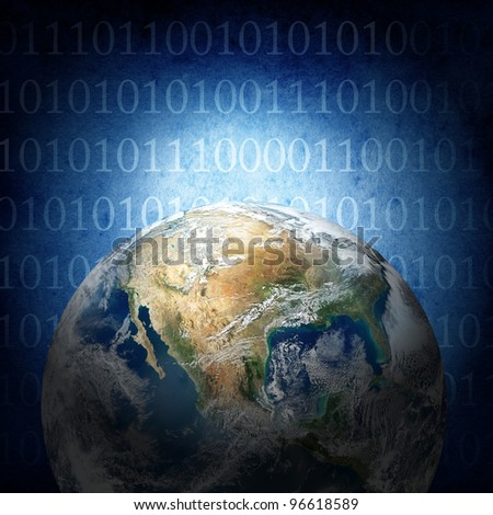 Binary code of the world ( The image of the Earth from www.nasa.gov) - stock photo