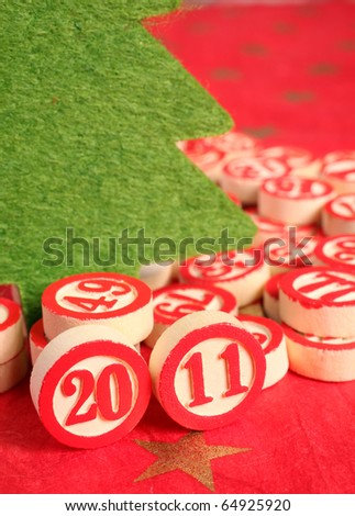 2011 - bingo numbers on red background