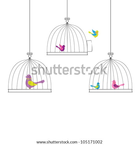 6 Birds in Cage, Isolated On White Background