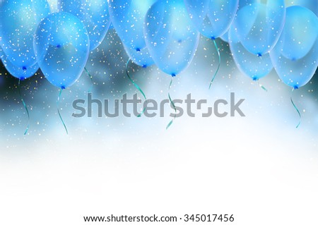 birthday card with balloons - stock photo
