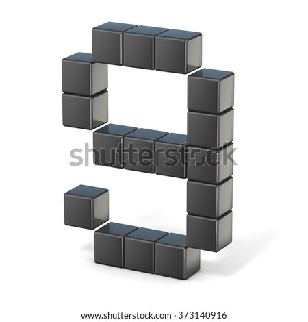 8 bit font. Number 9. 3D render illustration isolated on white background - stock photo