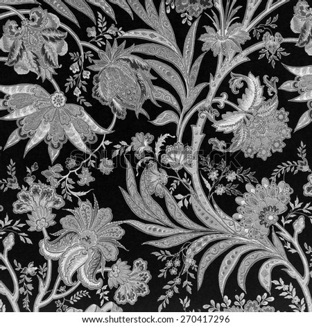 black and white floral  pattern - stock photo