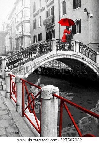 Black and white pictures with colour red detail digital illustration in oil painting style
