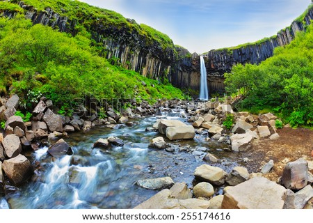 Black basalt columns frame the water jet. Picturesque waterfall Svartifoss in Skaftafell National Park of Iceland - stock photo