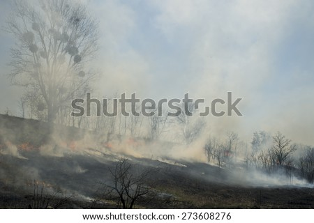 black box with the remains after the fire smoke - stock photo