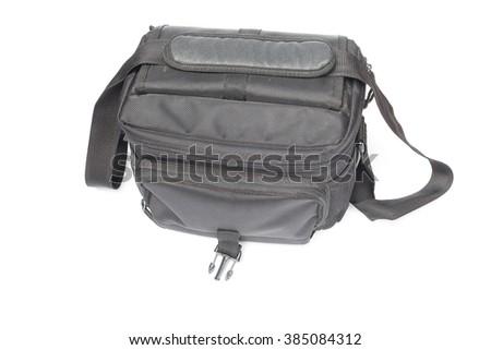 black camera bag on white background - stock photo