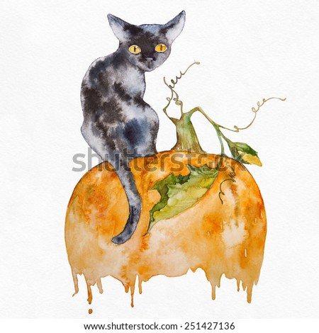 Black cat on a pumpkin. Halloween card. Watercolor painting. - stock photo