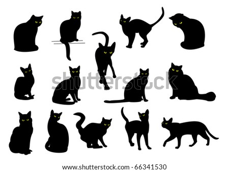 14 black cats with yellow eyes - stock photo