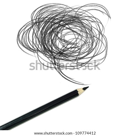 black colored pencil drawing  on a white background - stock photo