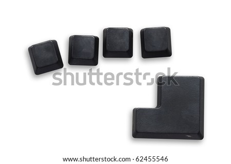 4 Black computer button with enter button isolated on white - stock photo