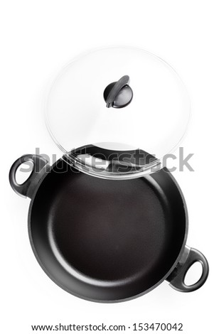 Black frying pan with a lid. White background