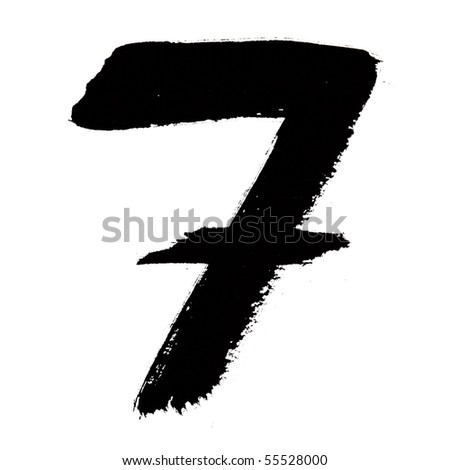 7 - Black ink numbers over the white background - stock photo
