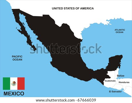 black map of mexico country with neighbors and national flag