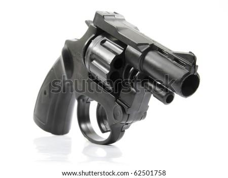 black plastic toy gun - stock photo