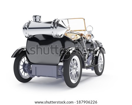 1910 black retro car on a white background in steampunk style - stock photo