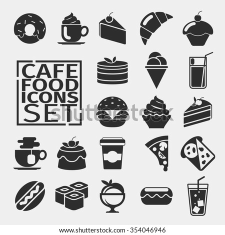 Black silhouettes of icons food. cafe menu, desserts.