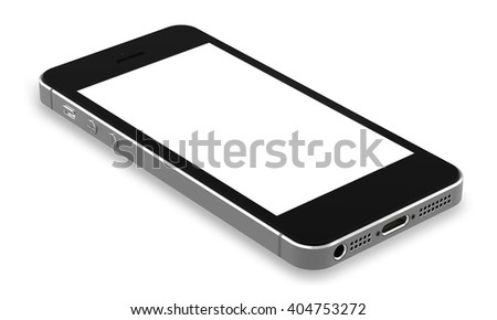 Black smartphones with blank screen, isolated on white background - high detailed,realistic, whole in focus 3d illustration.