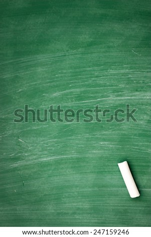 blank blackboard, chalkboard and chalk straight on it  - stock photo