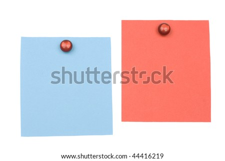 blank blue and red  note with magnet - stock photo