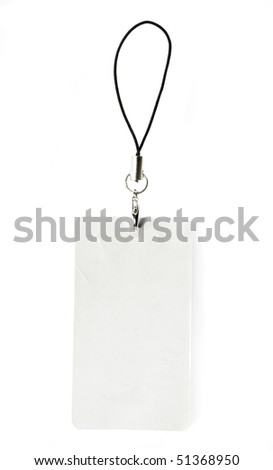 blank business card pendant isolated on white