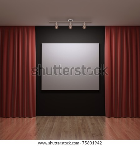 blank canvas on the black wall - stock photo