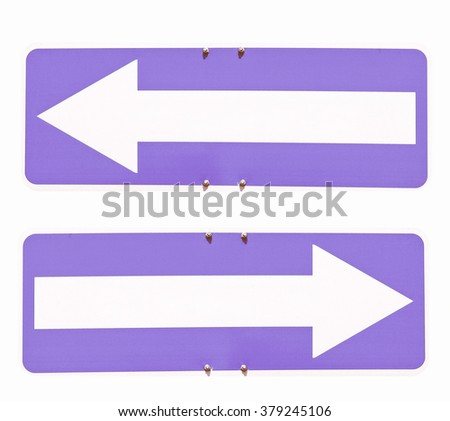Blank direction arrow sign with copy space, type your own text, left and right arrow over blue background vintage - stock photo